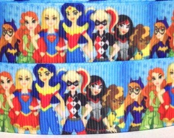 "Super Hero Girls 1"" Grosgrain Ribbon - Super Heroes Ribbon - 3 yards Super Heroes Girls Grosgrain Ribbon - 1"" Super Heroes Grosgrain Ribbon"