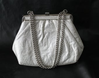 50s Silver Metallic Evening Bag Formal Purse Silver Chain Strap Shimmer Glitter