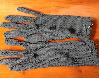 60s Black Mesh Formal Gloves Size Small Medium Short Gloves