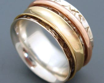 """Stylish """"AGILITY"""" Tri-Color Brass Copper Spinners Patterned Sterling Silver Base Ring Meditation Spinning Ring by Energy Stone (Style #US28)"""