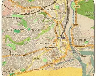Swansea Vintage Map Coasters