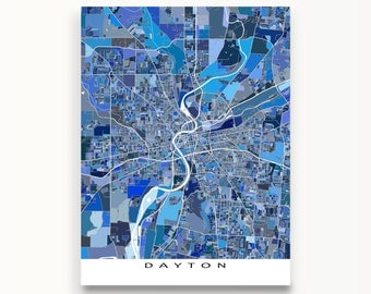 Dayton Ohio, Dayton Map Print, USA City Maps, Blue