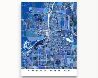Grand Rapids Map Print, Grand Rapids Michigan, City Map Art