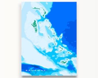 The Bahamas Map, Caribbean Islands, Blue Ocean Art Print