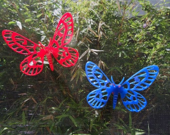 3D Screen door saver, magnetic | Sagebrush Sheep Moth in Red or Blue | Laser cut Acrylic