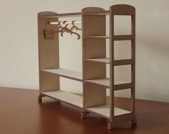 Doll wardrobe - toy wardrobe - Wardrobe for doll - Hanger for doll-house - doll furniture - doll house - wooden wardrobe