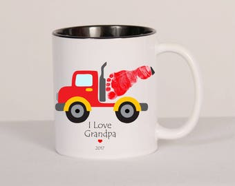 Construction Truck Footprint Mug, Baby, Toddler. Using Your Child's Actual Footprints, We Can Customize For You