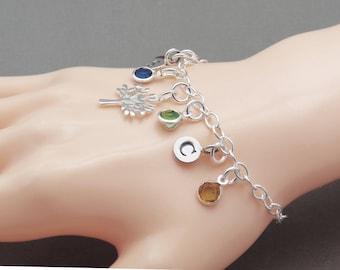 Tree Charm Bracelet, Sterling Silver Family Tree with Birthstone Charm Bracelet,  Initial Charm Bracelet, Gift for Her