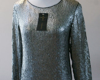 Chord Canada 80's Black Pure Silk Long Sleeve Top w/ All Over Silver Metallic Sequins Size Medium Deadstock NWT BT-587
