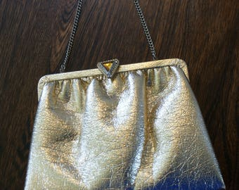 Vintage 70's Gold Metallic Faux Leather Shiny Evening Bag/Clutch w/ Rhinestone Accent Made in U.S.A BT-456