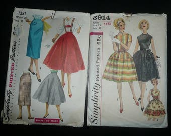 Vintage Simplicity Women's Skirt, Blouse,Dresses Sewing Patterns