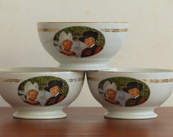 French coffee bowls. Set of 3 vintage bowls. Ty Breizh bowls from Gourin.