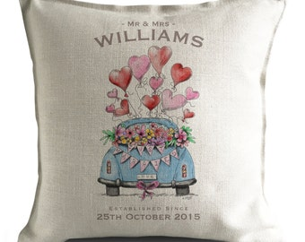 Personalised Wedding Cushion Cover pillow Cover anniversary Valentines Day Gift Just Married Mr and Mrs bride and groom - 40x40cm 16 inch