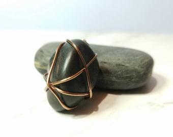 Wire Wrapped Black River Stone Pendant