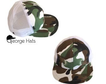 Toddler & Kids Trucker Hat / Baby Trucker Hat / Kids Snapback / WHITE CAMO