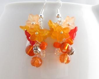 Cluster earrings, Flower earrings, orange dangle earrings
