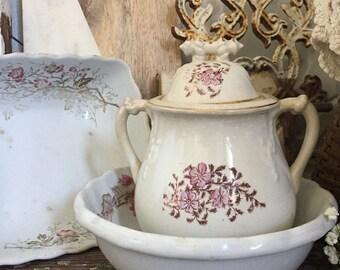 Antique Ironstone Sugar Bowl