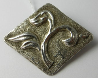 Vintage Silver Leaf Foliage Design Brooch