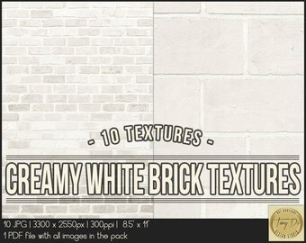 Creamy White Bricks | 8.5x11 Printable Digital Papers | Set of 10 Textured Scrapbook Papers | Digital scrapbook | Photo Paper overlays