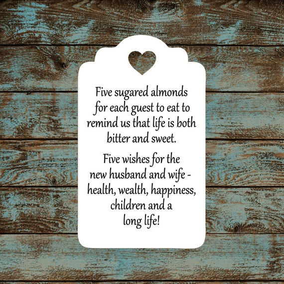 Favor Tags, Jordan Almond Favor Tags, Sugared Almond Tags, Italian Wedding Favor Tags, Modern Traditional Heart Cut Out - Quantity: 30 Tags