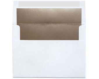 20 White with Metallic Champagne Bronze Shimmer Paper Lined Envelopes - A7 Size
