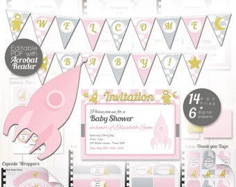 Space party Printable - Pink rocket, Baby girl sparkling rocket gender reveal Party - DIY Space Baby shower decoration Instant download