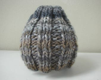 Chunky knit hat gray brown kids hat size 1 - 1.5 yrs warm comfortable winter baby hat no seams gray hat, brown chunky hand knit toddler hat