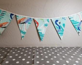 12 ft String of Bunting Flags - Flamingo Aqua print