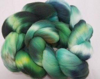 Rambouillet roving(combed top) hand dyed for spinning or felting, kettle dyed Rambouillet wool --'Rainforest'-- 4oz.