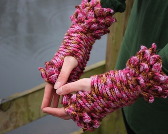 Pink Paradise crohet dragon scale gloves