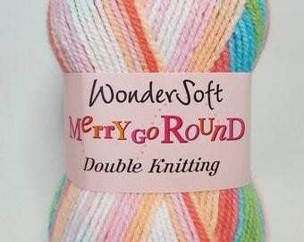 Stylecraft Wondersoft, Merry Go Round, DK, MARSHMALLOWS, 100g, self striping yarn, blue, pink, green, white, orange