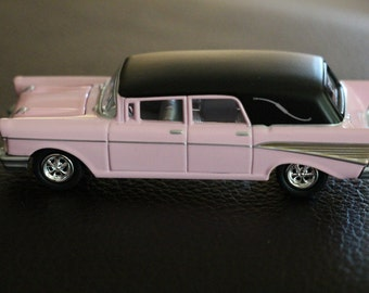 Hearse Car // Hearse Collectible // 1957 Chevy Hearse // Hearse Toy Car // Pink Cadillac Collectible // Johnny Lightening Hearse