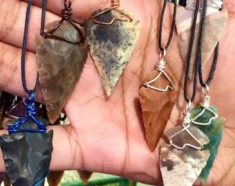 Flint Arrowhead Necklace - Copper Wire Wrapped Arrowhead Pendant Handmade - Love Potion Magickal Perfumerie