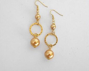 Gold earrings for her, extra long earrings, evening earrings, long beaded earrings, gold simple earrings, statement earring dangling earring