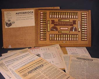 Vintage Old Collectible * Autobridge Playing Board Game / Instructions 1938