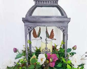 Large Lantern with Floral Arrangment, Hummingbirds and Candle, Centerpiece, Floral Decor