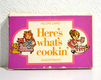 Here's What's Cookin' Recipe Cards- 25 Illustrated Blank Recipe Cards with Cute, Colorful Designs and Quotes