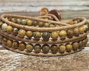 Picture Jasper Bracelet / Healing Crystal Bracelet / Chan Luu Style Wrap Bracelet / Healing crystal Jewelry / Chakra Bracelet