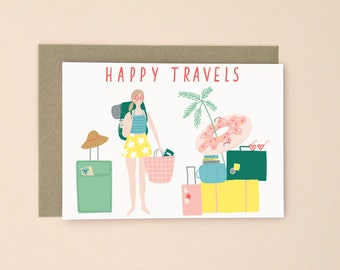 Illustrated Happy Travels Card A6