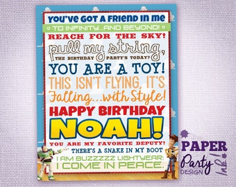 "8"" x 10"" Personalized Toy Story Birthday Sign, Toy Story Table Decoration, Digital Toy Story Sign, Toy Story Party Decoration"