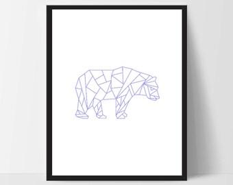 Blue Geometric Bear, Wall Art, Wall Print, Boho Art, Wall Prints, Bear Prints, Art, Walking Bear