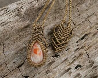 Handmade Natural Gem Sunstone Macrame Necklace / Metal Free