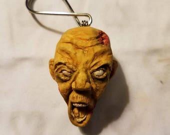 Polymer Clay Zombie Head Keychain Charm