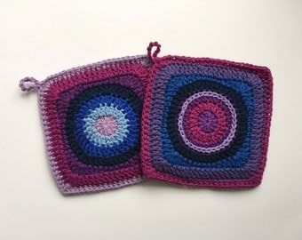 Set of 2 • Blue and Purple Handamde Crochet Potholders