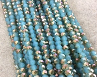 """4mm x 6mm Iridescent AB Finish Faceted Opaque Bicolor Aqua/Gold Crystal Rondelle Beads - 17"""" Strand (Approx. 94 Beads) - (CC46-123)"""