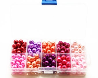 Box of 200 pearls pearl glass, 10 assorted colors, 8 mm