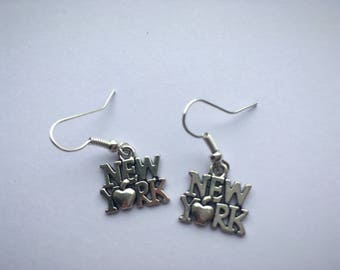 I heart New York silver plated NYC charm earrings, gifts for her.