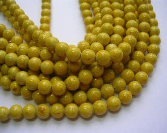 6mm Mottled Yellow Riverstone Rounds 60 Beads Gemstone Fossil Bead Jewelry Natural 6mm Stone Rounds.  Mustard Yellow Stone Mottled