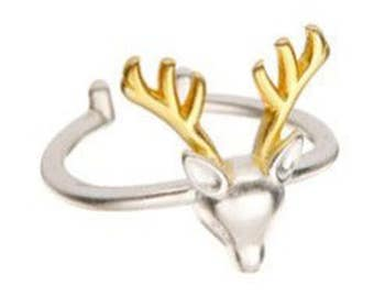 Sterlin Silver Reindeer Adjustable Ring with 18K Gold Accents