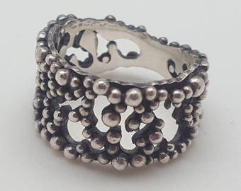 "Ring ""Millepora"", Silver 925 oxidized and granulation"